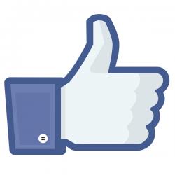 niebieska dłoń z kciukiem do góry, logo Facebook