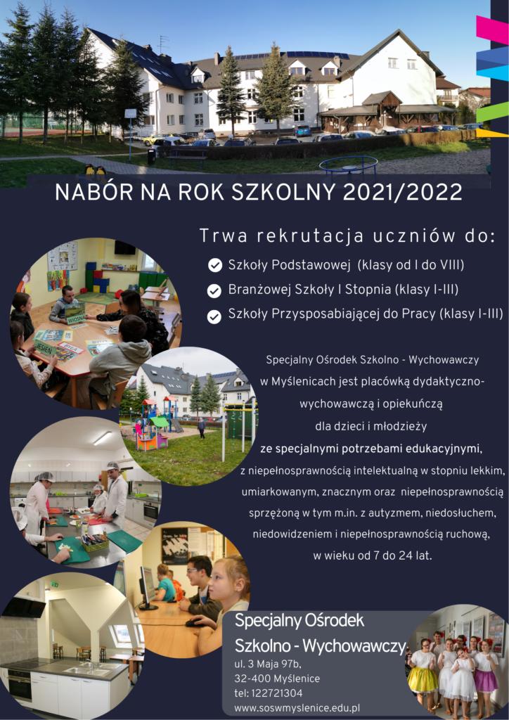 Informacja o naborze na rok szkolny 2021 na 2022, wymienione typy szkól i opis szkoły, kolorowe zdjęcia uczniów w szkole